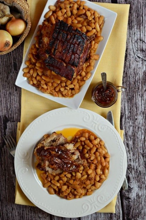 Sült császárhús füstös babbal recept
