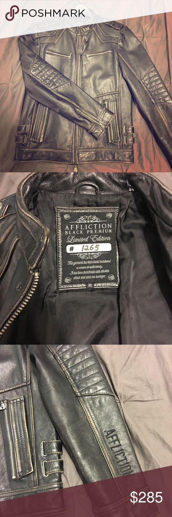 """Affliction Leather Jacket Size M """"On Any Sunday"""" Jackets"""