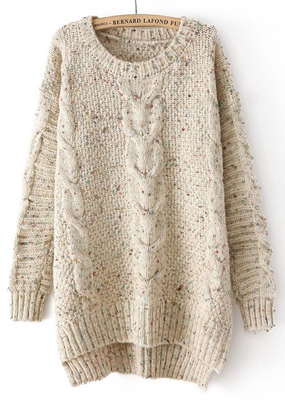Beige Plain Irregular Long Sleeve Sweater I still want an oversize, big, comfy sweater for winter and in general!