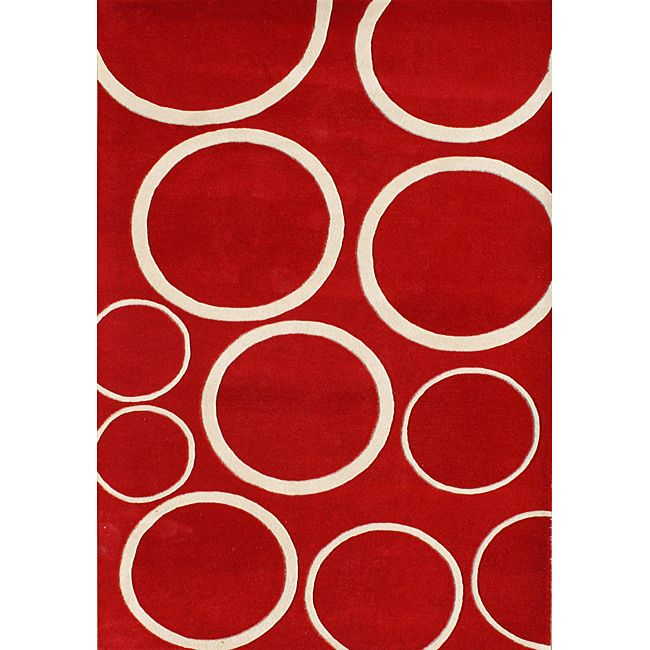 Add this red circle wool rug to any home or office for added style and comfort.  The contemporary style of this rug will go perfectly with any decor.