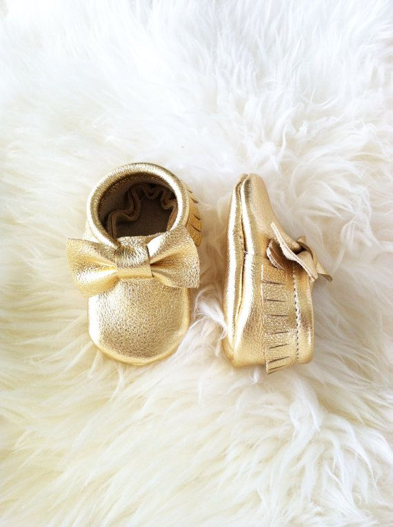 Metallic Gold Leather Moccasins for babies and toddlers Baby Moccs on Etsy, $37.00
