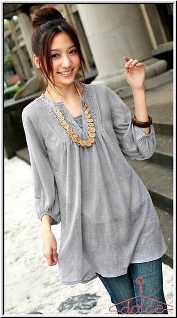 Long gray blouse