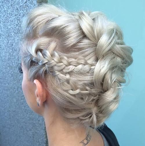 platinum+blonde+braided+mohawk+updo