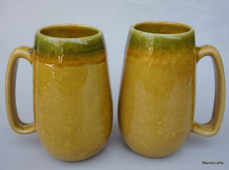 Beauce Canada Coffee Tea Mug x 2 Large Gold Green Drip Art Pottery Canada c1970s