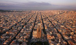 Barcelona's Eixample district, with Antoni Gaudí's Sagrada Familia in the foreground.