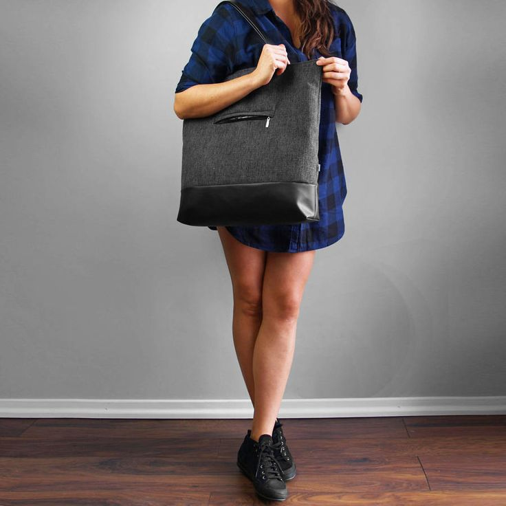 TOTE BAG SHOPPER 03 casual style very capacious shoulder bag dark gray thick and durable fabric Zipper Closed artificial leather bottom by PurolDesignBags on Etsy
