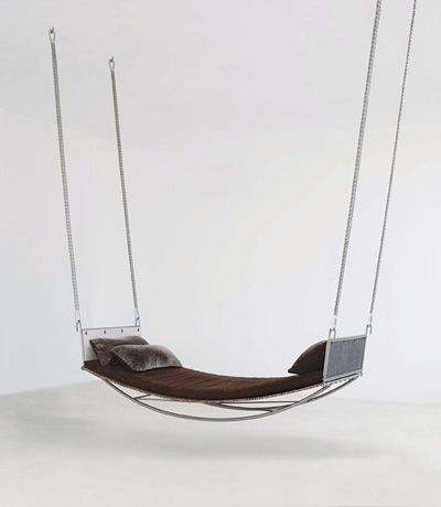 Hammock with Link Leather sling by Jim Zivic, available exclusively through Ralph Pucci International.