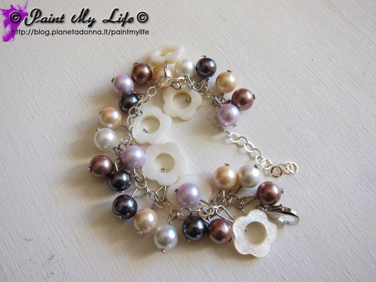 Bracciale di perle e madreperla, per ragazza