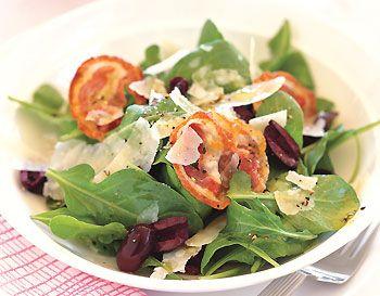 Arugula Salad with Olives, Pancetta, and Parmesan Shavings
