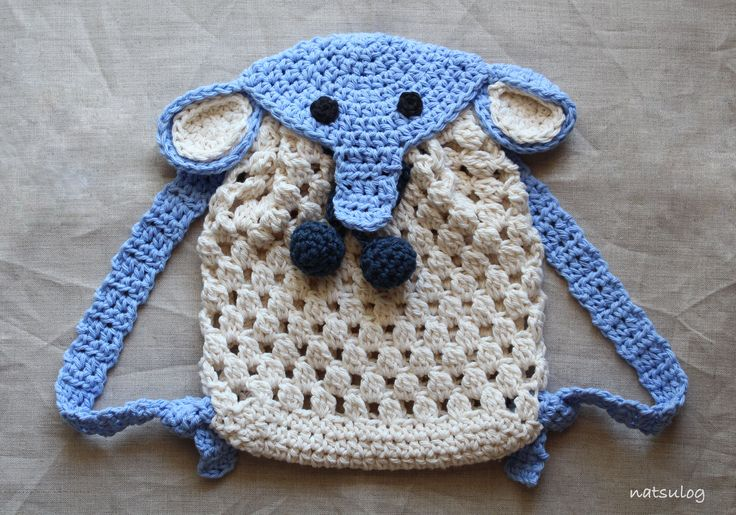 Step-by-step Crochet Pattern: An elephant backpack for babies and kids.