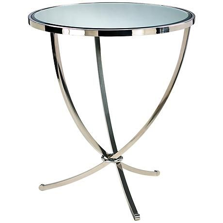 this foyer table features a gleaming stainless steel finish mirrored glass top and swooping foyer tablesside