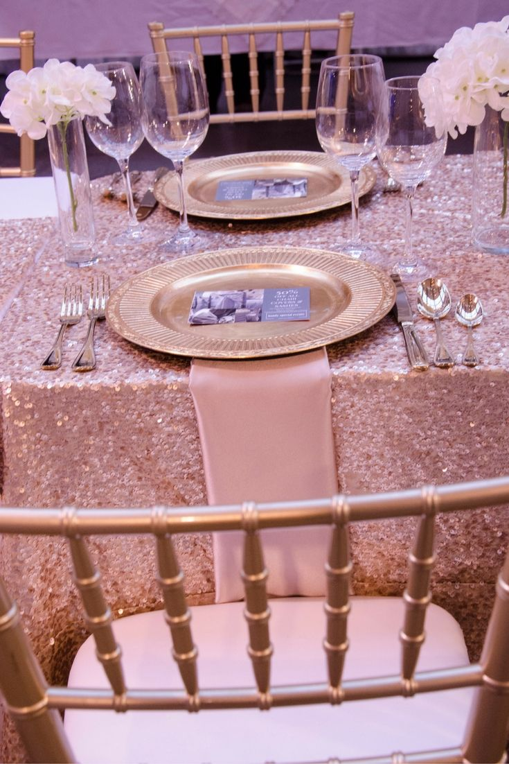 Romantic blush sequin linen. One of most loved combinations