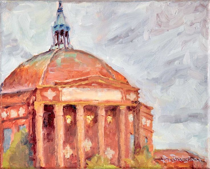 First Baptist Church contemporary oil landscape painting