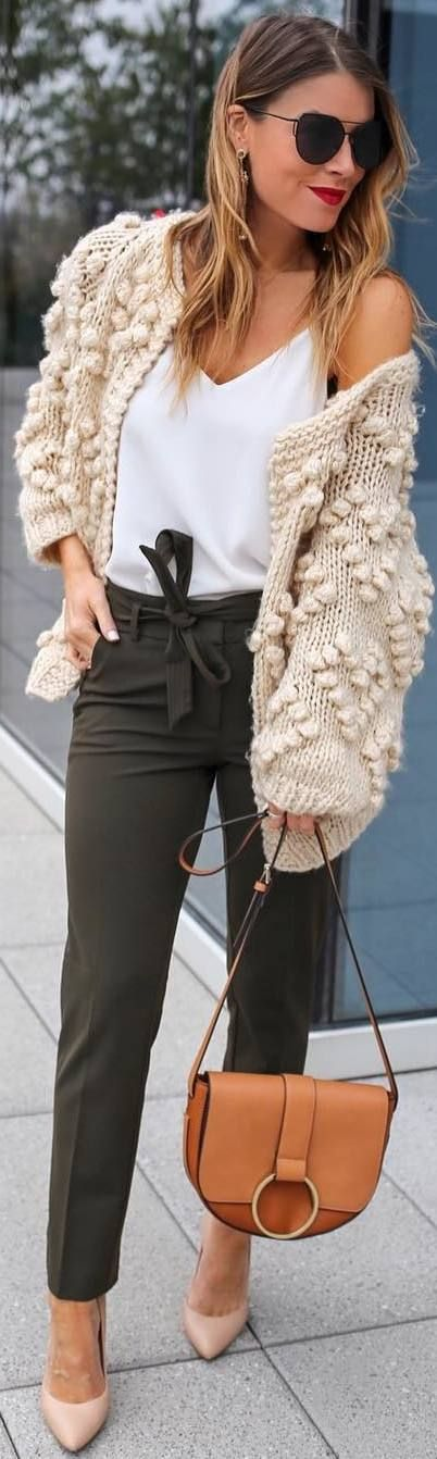 #fall #outfits beige sweater green pants