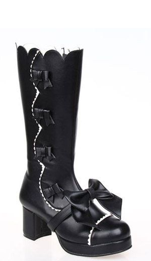 Just below the knee length black lolita style boots with white trim and four bowknots down one side and a detachable large bow that straps around the front and sole. They are handmade from PU leather with a zip up side for easy fitting.  Heel: 6cm | Wedge: 2cm  100% official branded merchandise