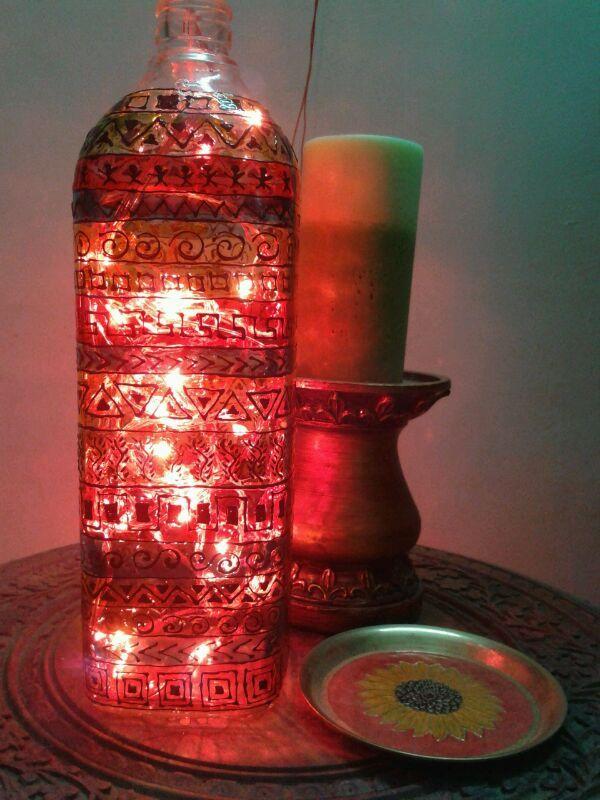 Lighted up, hand painted glass bottle https://www.facebook.com/Fingertipscrafts