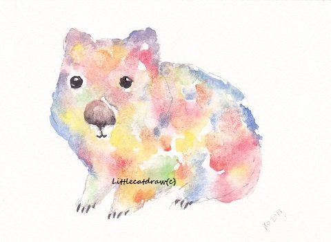 Rainbow Wombat - Art Print Watercolor - Archival Art Print - Wall Art - Home Decor Print 5x7