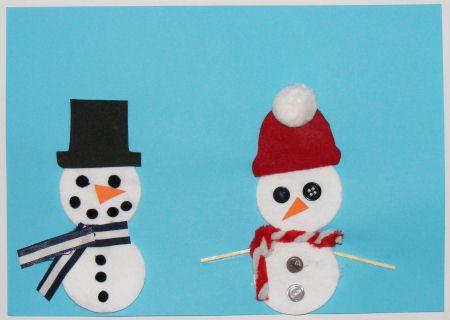 Cotton wool pad snowman craft