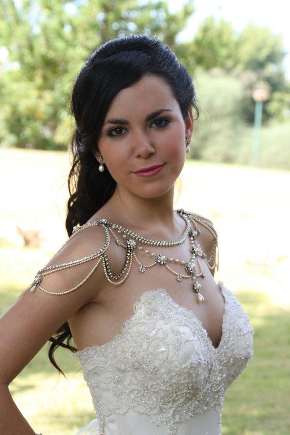Halskette für Schultern, Hochzeitssuite viktorianisch, Perlen und Strass, Kristalle, OOAK Brautschmuck, Hochzeit Schmuck, Vintage, 20er Jahre Stil