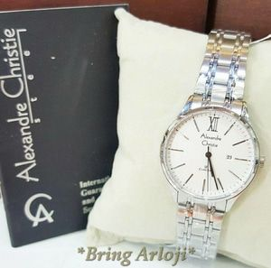 Jam Tangan Alexandre Christie Wanita AC 8504 Silver White Original