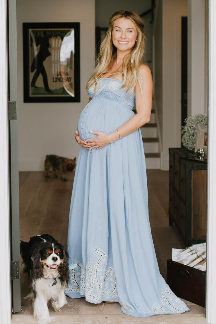"""Zippora"" Cut-Work Embroidery Maternity Maxi Dress - Chambray blue with cream"
