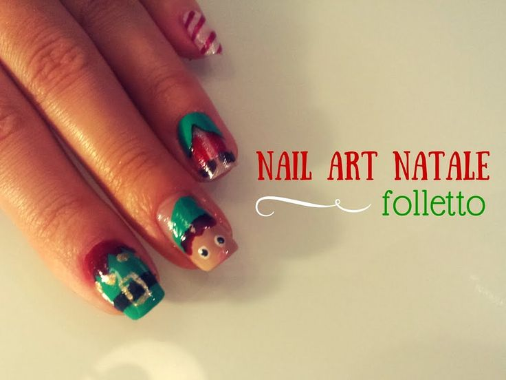 Nail art natalizia..SOOOO CUTE :) #christmas #nails #nailart #natale