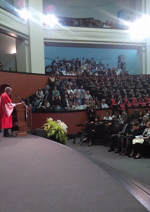 Sir George Alleyne (born in Barbados) at the University of Toronto on Wednesday June 14, 2017 after he received an honorary Doctor of Laws degree. Sir George Alleyne, MD, FRCP, FACP (Hon.), DSc (Hon.), is Director Emeritus of the Pan American Health Organization, where he served as director from 1995-2003. He is Chancellor of the University of the West Indies (UWI)