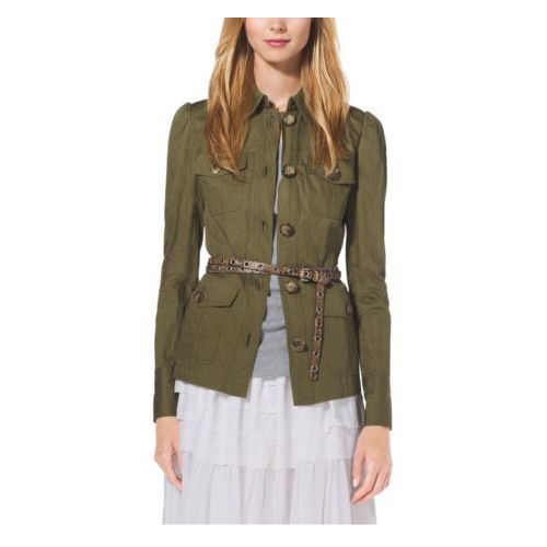 Cheap MK Store & MICHAEL KORS COLLECTION Crushed-Cotton Cargo Jacket JUNIPER