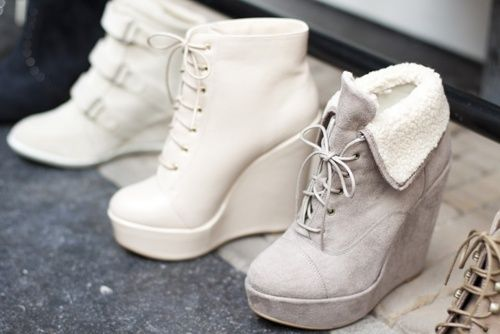 White wedges #shoes #boots