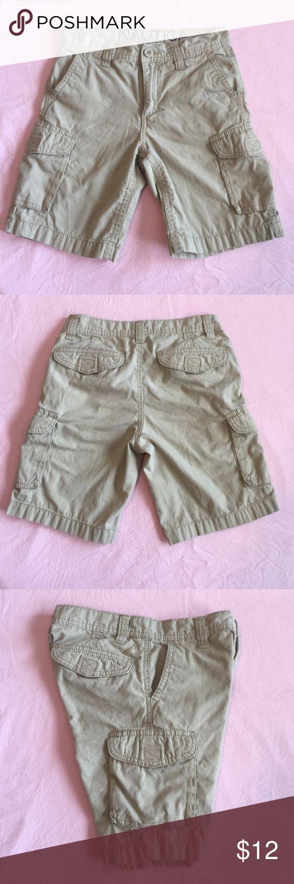 Nautica size 8 boys cargo shorts Excellent condition, khaki cargo shorts by Nautica.  Velcro on cargo pockets.  Zipper has NO damage Nautica Bottoms Shorts