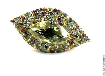 """Кольцо """"Маркиза"""" в серебре - натуральные камни,серебро 925 пробы,чернение"""
