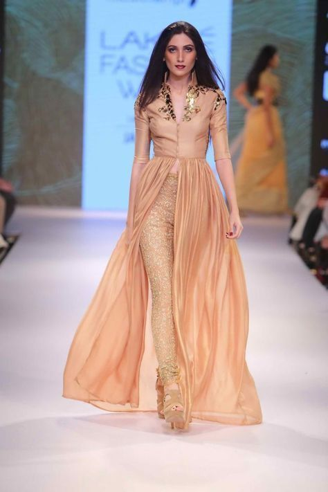08e5a840161 Z Fashion Trend  PEACH INDO WESTERN STYLE PARTY WEAR DRESS