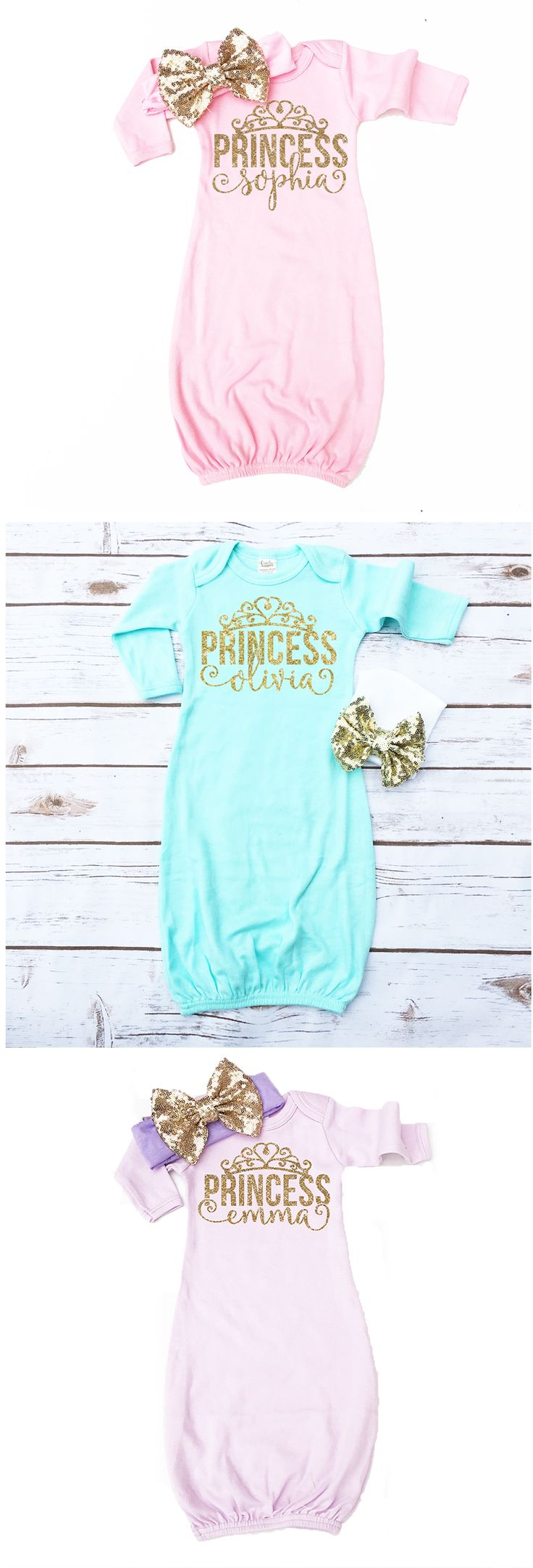 Personalized Princess Baby Gowns. Love the pastel color options! Which is your favorite, Pink, Mint, or Lilac? Customized with your baby's name. The perfect gender reveal outfit and coming home from the hospital outfit.