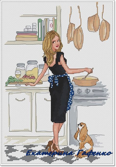 0 point de croix femme robe noire faisant la cuisine - cross stitch girl in black dress cooking