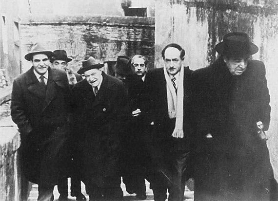 Ungaretti con Attilio Bertolucci, Aldo Palazzeschi, Eugenio Montale.