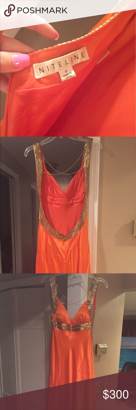Floor length orange and gold evening/prom dress Orange with gold beading, low back and crystal detail! Perfect for any evening occasion. Dresses Backless