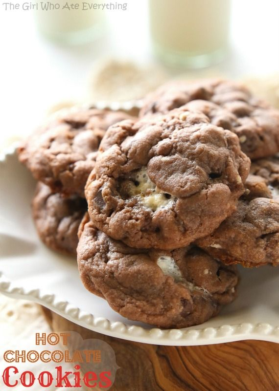Hot Chocolate Cookies – cookies made with hot chocolate mix, milk chocolate chips, semi-sweet...