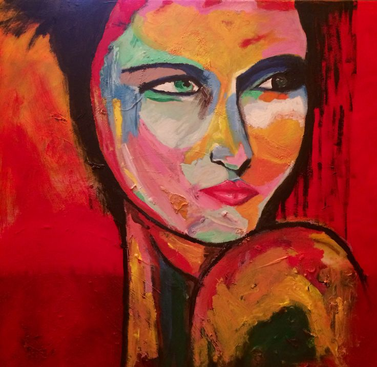 """""""Engaged Indiference"""" Acrylic on canvas 40x40"""" Marie Lardino, 2014"""