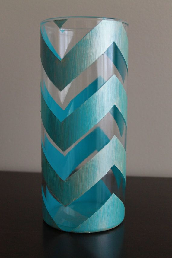 Teal and Gold Chevron Vase by JaelleAndCo on Etsy,