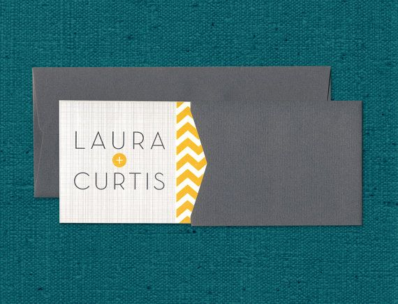 "Modern Chevron Wedding Invitation, Grey and Yellow Wedding Invitation, Graphic Typography Wedding Invitation - ""Laura"" SAMPLE"