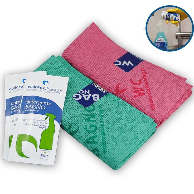 Kit panno detergente pulizia bagno. Convenienza per pulire e igienizzare tutto il bagno, sanitari, lavandino, vasca e piastrelle, con 4 prodotti specifici.