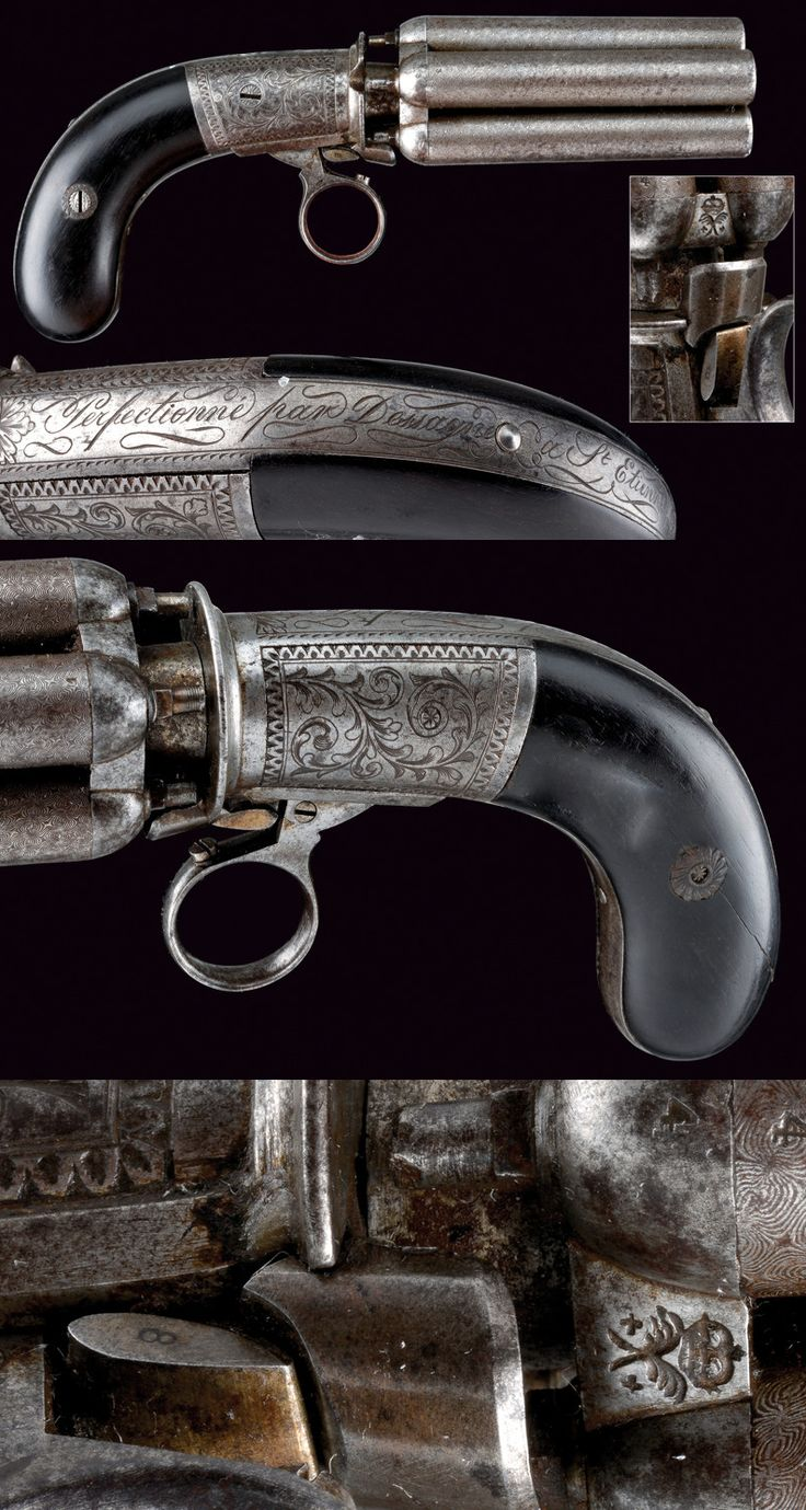 A fine pepperbox revolver by Dessagne, France 3rd quarter 19th century.