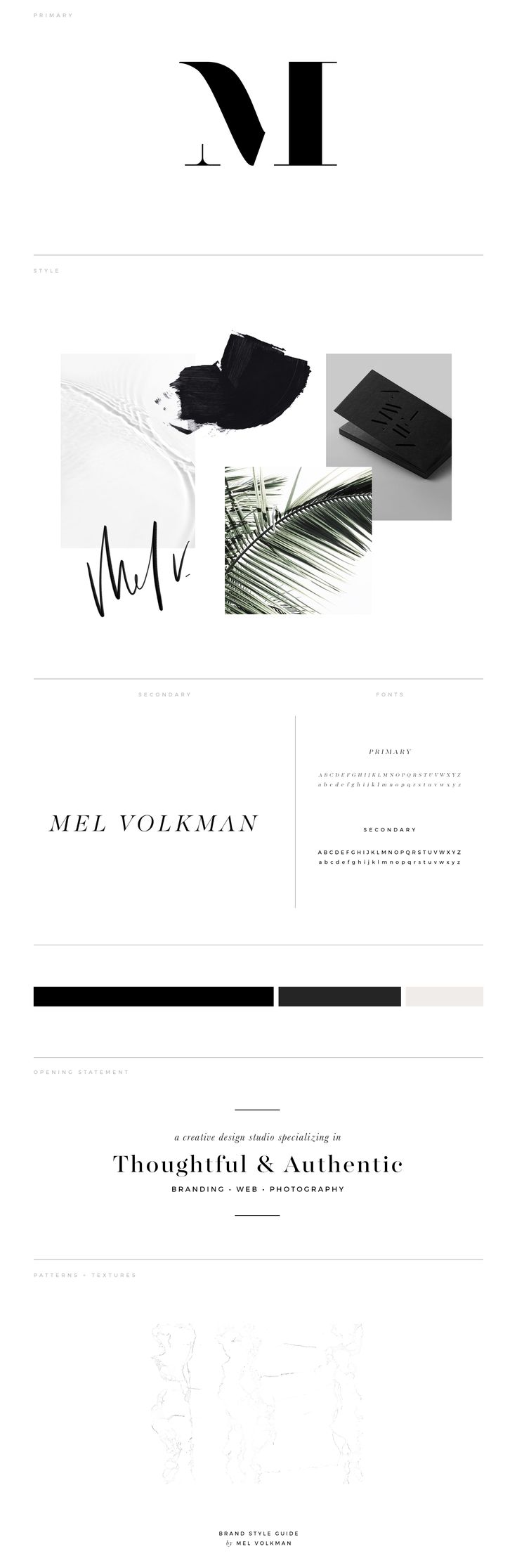Mel Volkman Brand Style Guide | Brand Board | Branding | Modern Brand | Brand Icon | Elegant Branding | Palms | Black and White | Marble