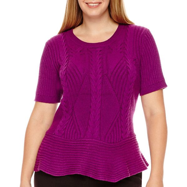 Worthington Short-Sleeve Peplum Sweater ($25) ❤ liked on Polyvore featuring plus size women's fashion, plus size clothing, plus size tops, plus size sweaters, plus size, plus size purple sweater, womens plus sweaters, plus size peplum top, crewneck sweaters and plus size cable knit sweater