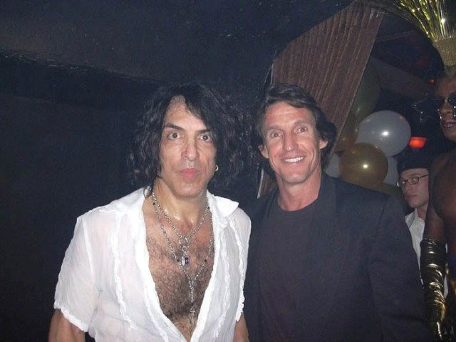 KISS Great Paul Stanley celebrates Cheryl's birthday in LA, pictured with owner of ROCK STAR gallery, Michael