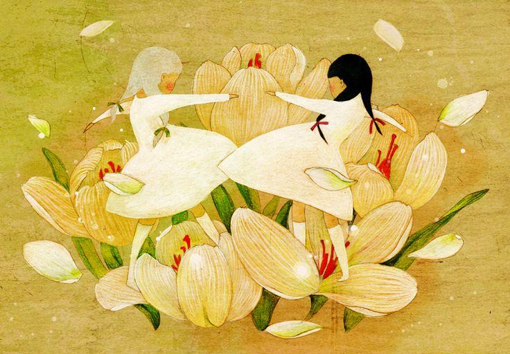 dance,flower,illust