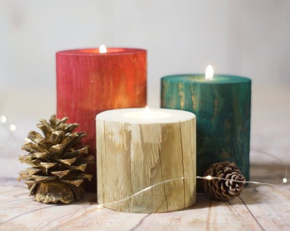 Rustic Holiday Decor Wood Candle Holder Christmas Centerpiece Unique Gift Ideas Gift Exchange Sustainable Natural Candles Farmhouse Wood Candle Holders Christmas Centerpieces Natural Candles