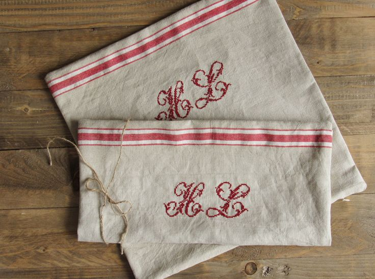 cushion cover linen with monogram made of original french vintage linen
