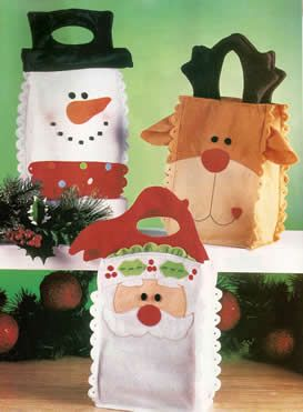 Portal de Manualidades: Bolsas de fieltro para regalos de navidad