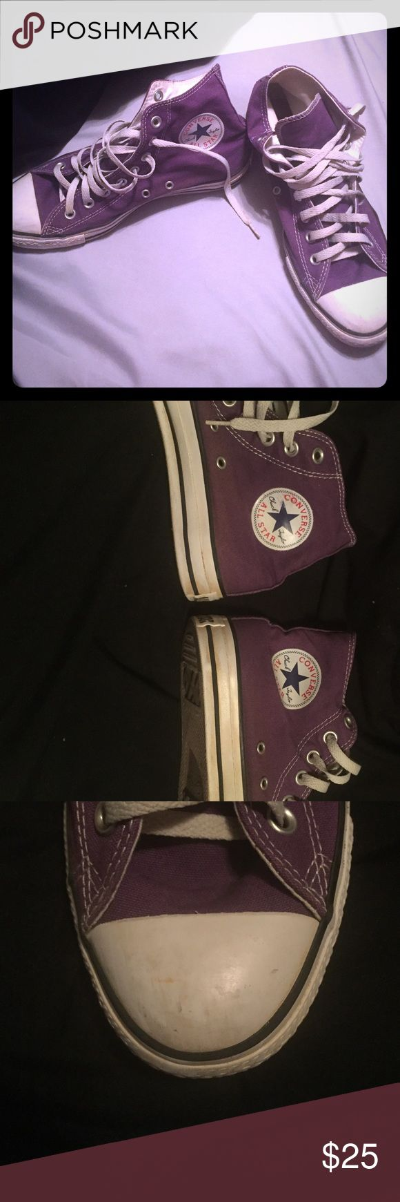 Purple Converse High Tops Some wear & tear but overall good condition. I just have no need for these purple ones anymore! Would love to pass to another Converse loving home☺️💕 Converse Shoes Sneakers